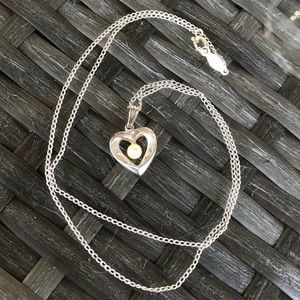 """Vintage Sterling Silver Pearl Heart Necklace 18"""""""